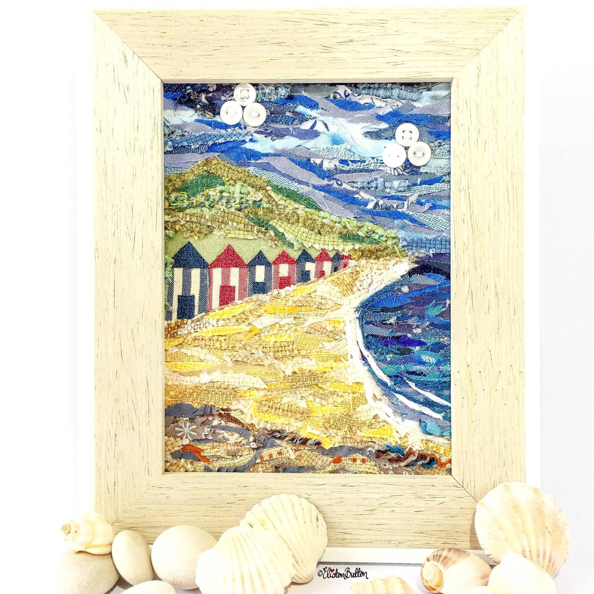 Beach Huts by the Sea Original Fabric Collage by Eliston Button - Eliston Button is Four! at www.elistonbutton.com - Eliston Button - That Crafty Kid – Art, Design, Craft & Adventure.