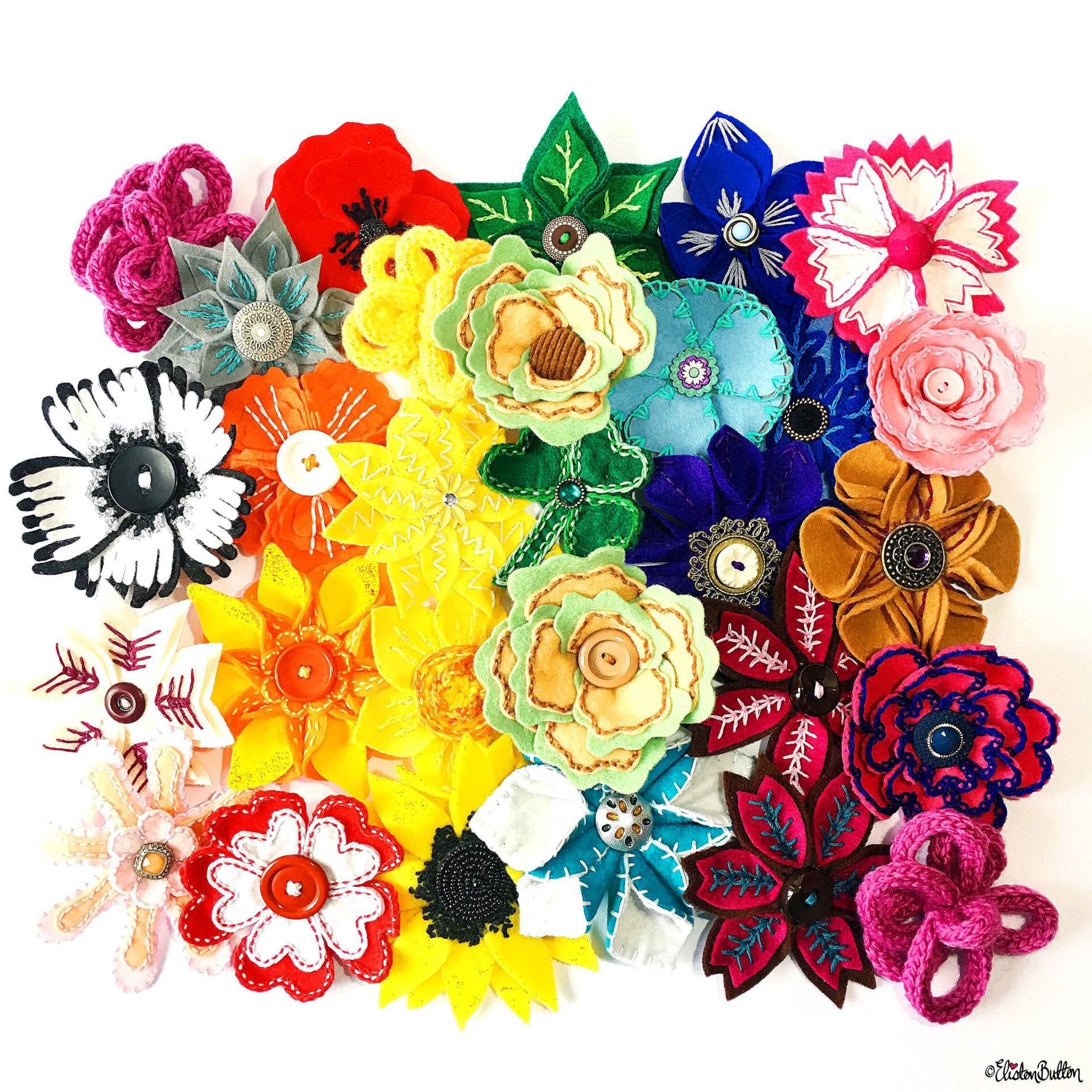 Bright and Colourful Embroidered Felt Flower Brooch Collection by Eliston Button - Meet the Maker Week 2017 at www.elistonbutton.com - Eliston Button - That Crafty Kid – Art, Design, Craft & Adventure.
