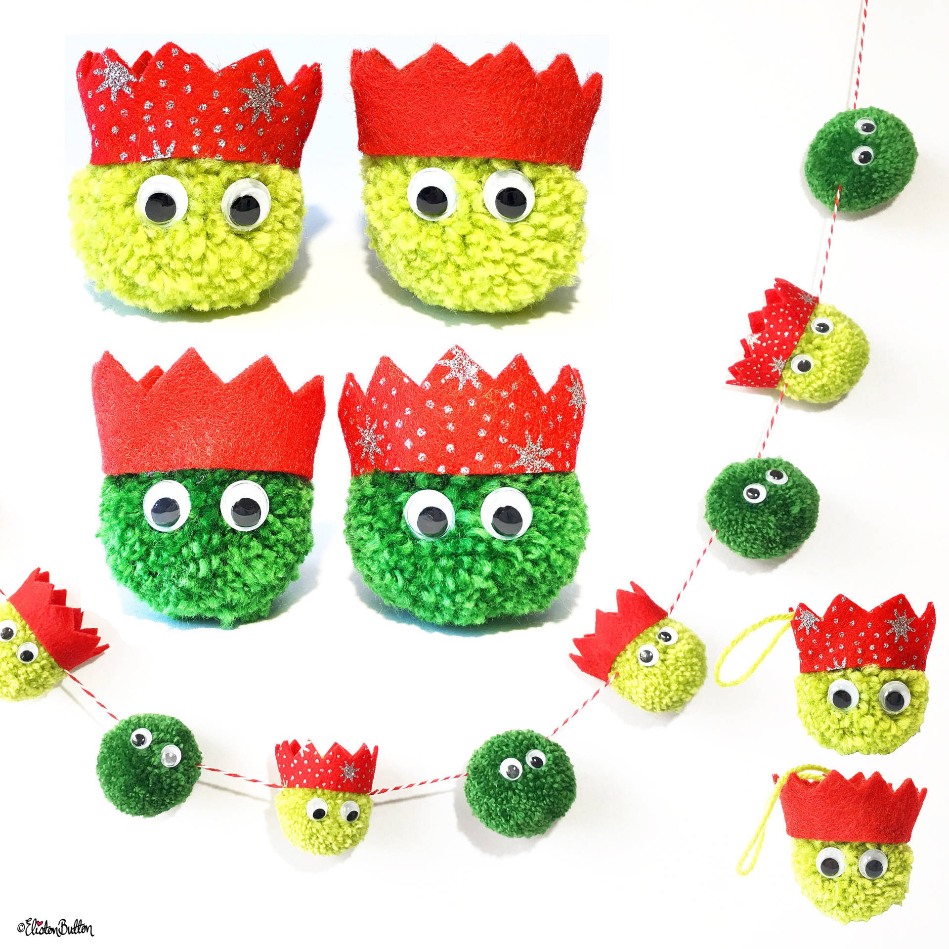 Christmas Sprout Individual Decorations, Pack of 4 Decorations and Garland by Eliston Button on Etsy - For the Love of…Christmas at www.elistonbutton.com - Eliston Button - That Crafty Kid – Art, Design, Craft & Adventure.