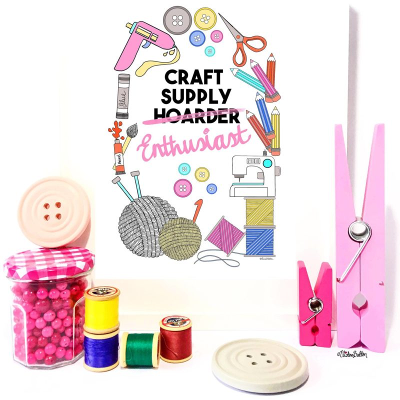 Craft Supply Enthusiast Illustrated Print by Eliston Button - Eliston Button is Four! at www.elistonbutton.com - Eliston Button - That Crafty Kid – Art, Design, Craft & Adventure.