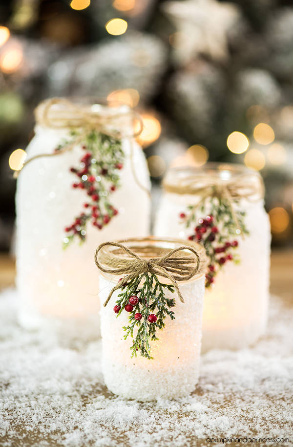 D.I.Y Snowy Mason Jars by A Pumpkin and a Princess Blog - For the Love of…Christmas at www.elistonbutton.com - Eliston Button - That Crafty Kid – Art, Design, Craft & Adventure.