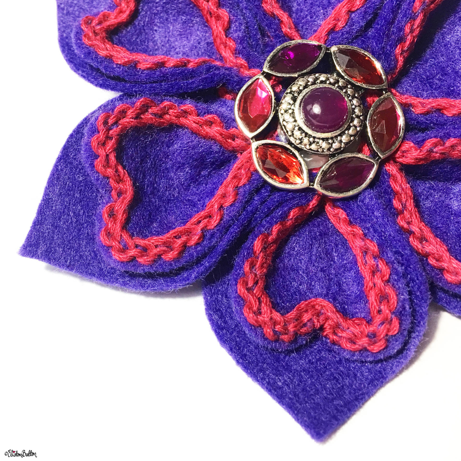 Deep Purple and Raspberry Pink Embroidered Felt Flower Brooch by Eliston Button - Eliston Button is Four! at www.elistonbutton.com - Eliston Button - That Crafty Kid – Art, Design, Craft & Adventure.