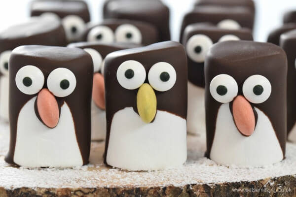 Easy Marshmallow Penguins Fun Food Tutorial by Eats Amazing Blog - For the Love of…Christmas at www.elistonbutton.com - Eliston Button - That Crafty Kid – Art, Design, Craft & Adventure.