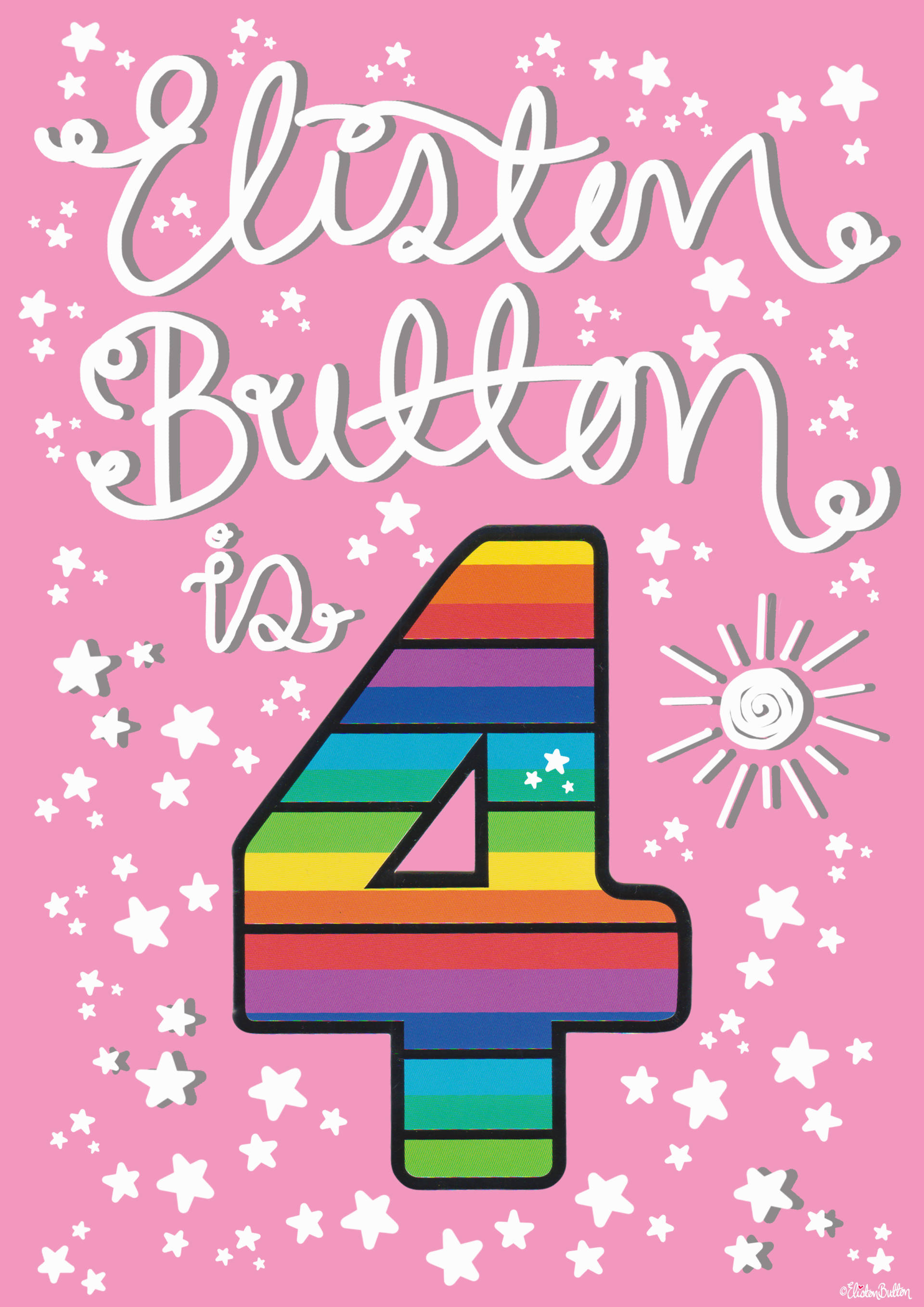 Eliston Button is 4! Rainbow Number 4 - Eliston Button is Four! at www.elistonbutton.com - Eliston Button - That Crafty Kid – Art, Design, Craft & Adventure.
