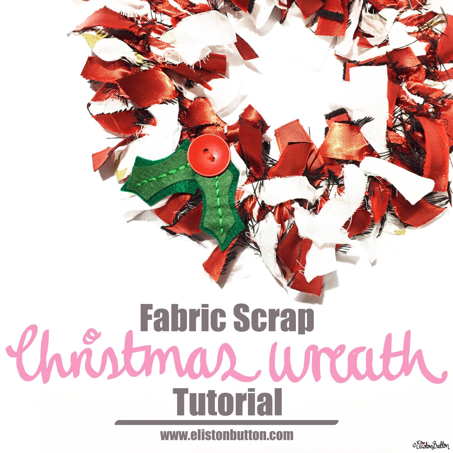 Fabric Scrap Christmas Wreath Tutorial by Eliston Button Instagram Square - For the Love of…Christmas at www.elistonbutton.com - Eliston Button - That Crafty Kid – Art, Design, Craft & Adventure.