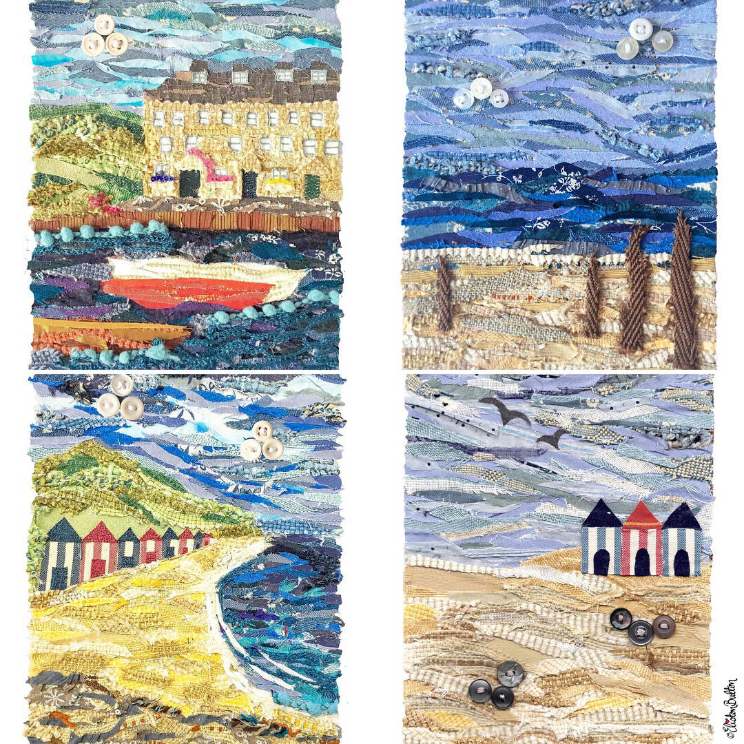 Four Beach Scene Seaside Fabric Collage Prints by Eiston Button - Eliston Button is Four! at www.elistonbutton.com - Eliston Button - That Crafty Kid – Art, Design, Craft & Adventure.