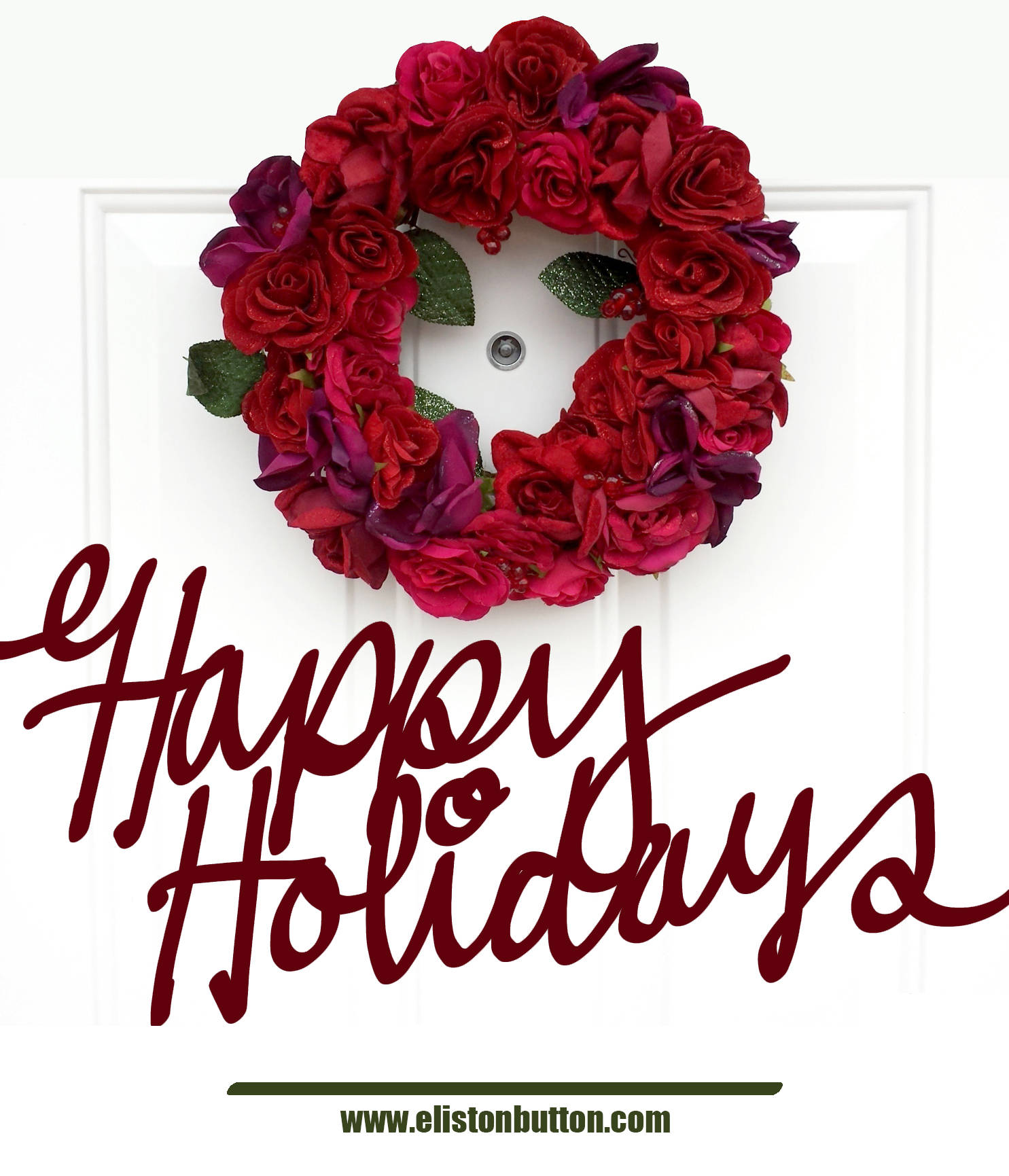 Happy Holidays Hand Lettering and Rose Floral Christmas Wreath with Button Holly and Berries by Eliston Button - Merry Christmas, Happy Holidays and a Magical New Year! at www.elistonbutton.com - Eliston Button - That Crafty Kid – Art, Design, Craft & Adventure.