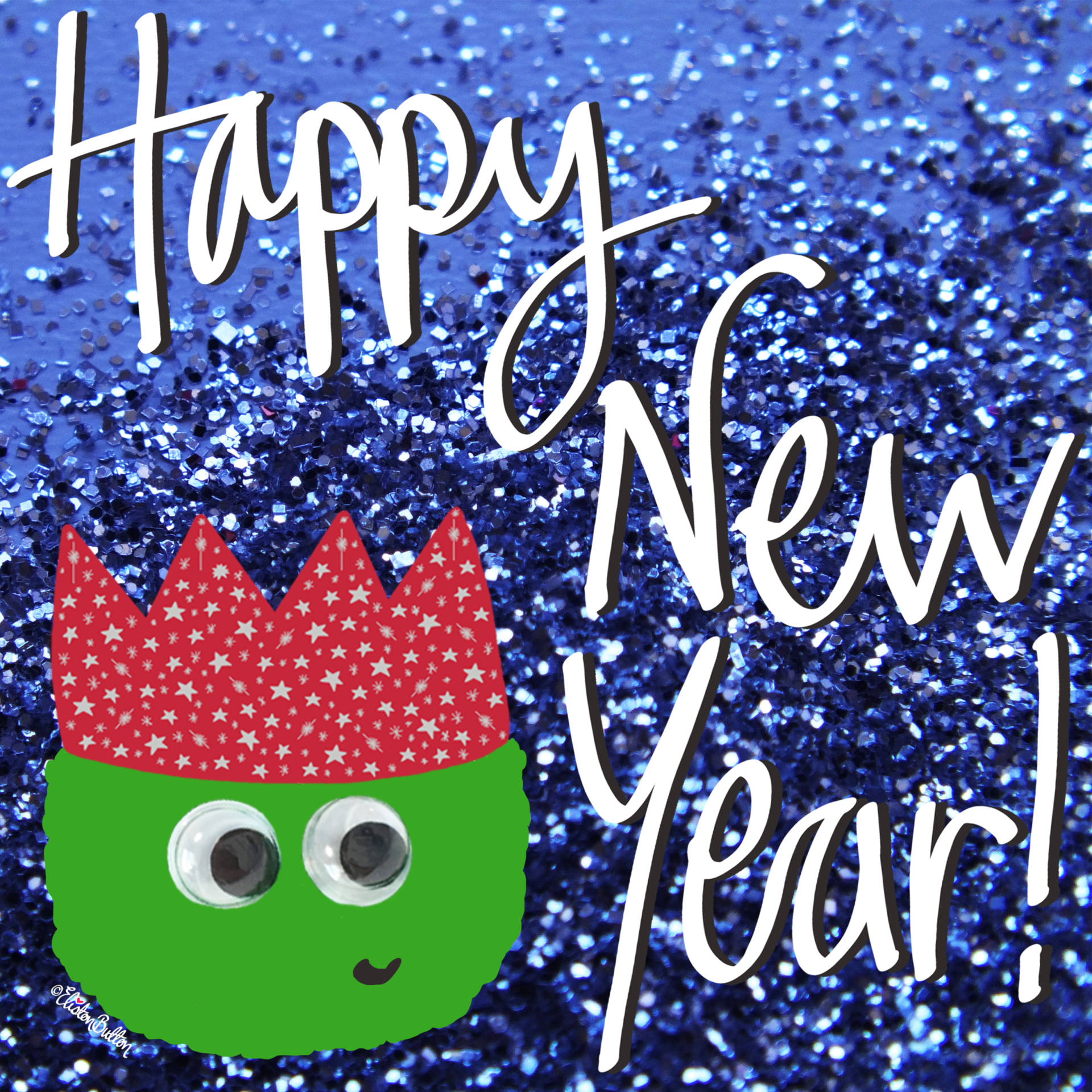 Happy New Year Glitter Christmas Sprout by Eliston Button - Merry Christmas, Happy Holidays and a Magical New Year! at www.elistonbutton.com - Eliston Button - That Crafty Kid – Art, Design, Craft & Adventure.