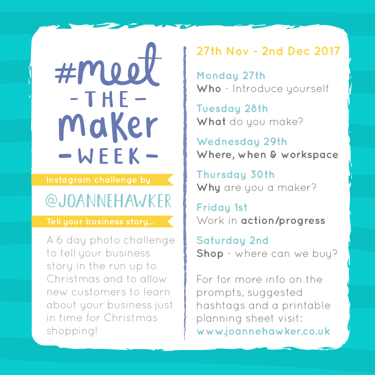 Joanne Hawker Meet the Maker Week Prompts - the Maker Week 2017 at www.elistonbutton.com - Eliston Button - That Crafty Kid – Art, Design, Craft & Adventure.