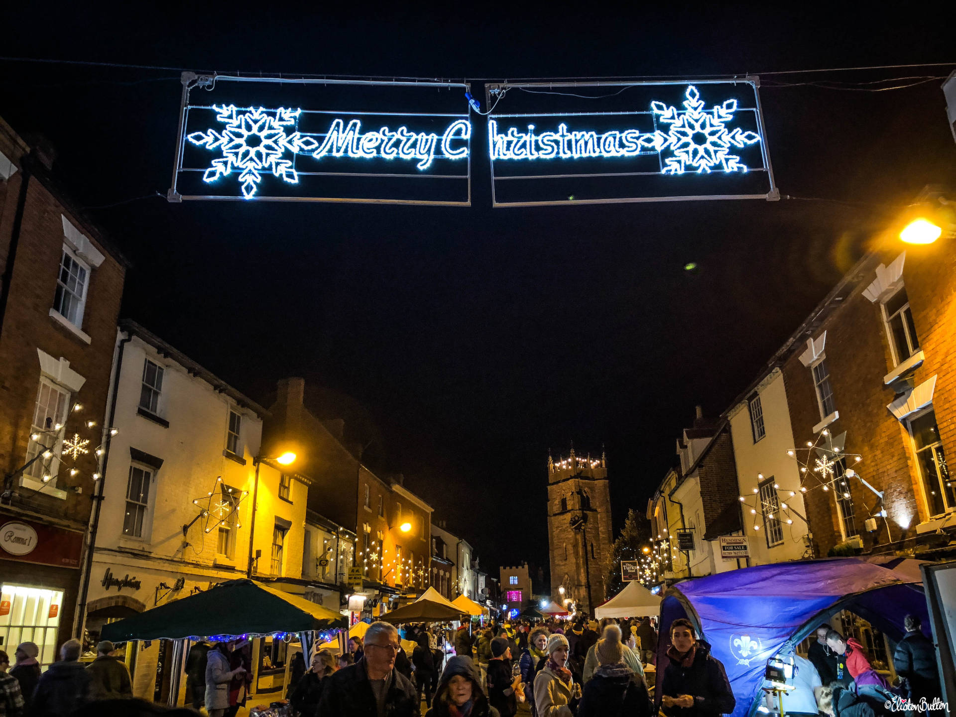 Merry Christmas Neon Sign and St Nick's Night Christmas Market in Alcester, Warwickshire - For the Love of…Christmas at www.elistonbutton.com - Eliston Button - That Crafty Kid – Art, Design, Craft & Adventure.