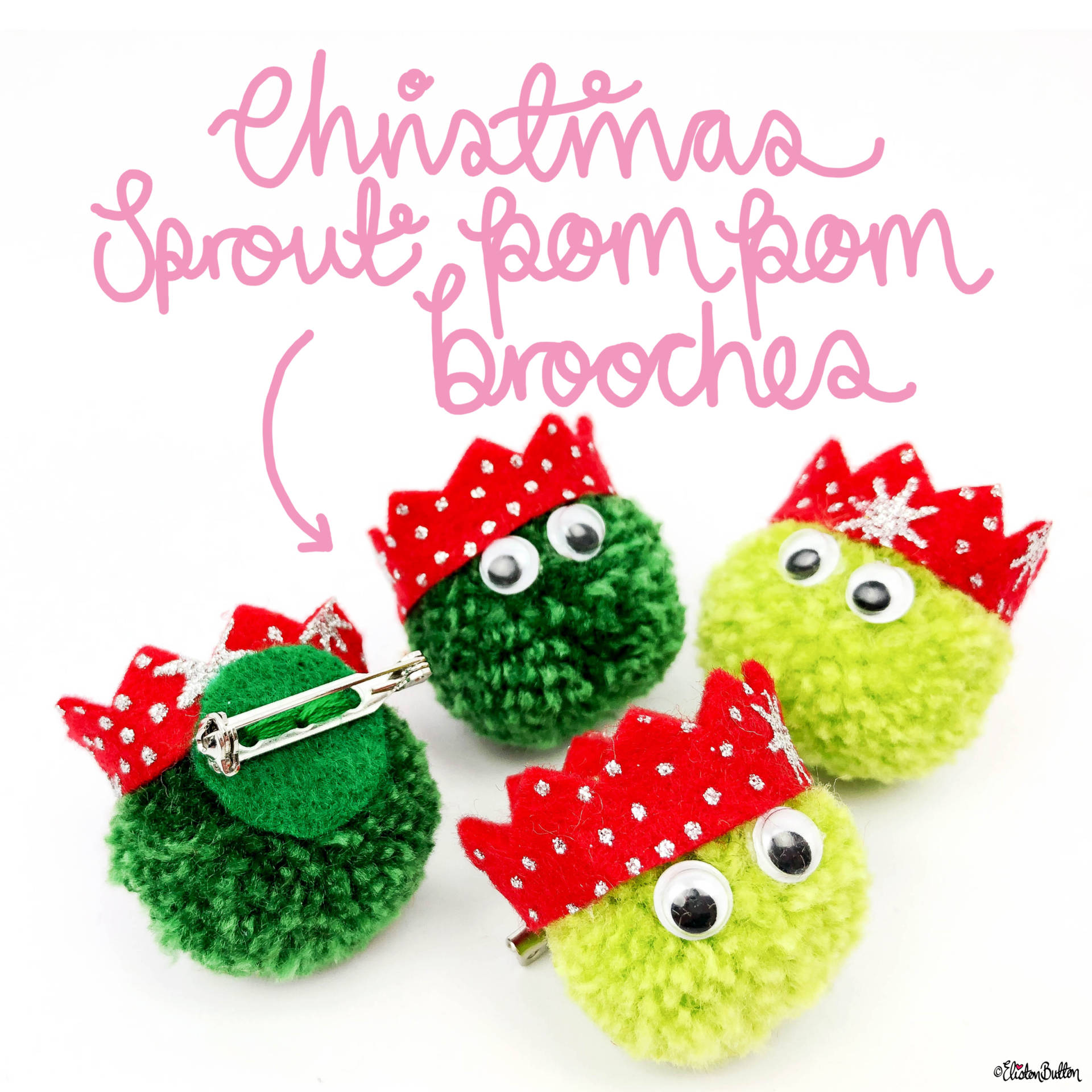 Mini Christmas Sprout Pom Pom Brooches by Eliston Button - Eliston Button is Four! at www.elistonbutton.com - Eliston Button - That Crafty Kid – Art, Design, Craft & Adventure.