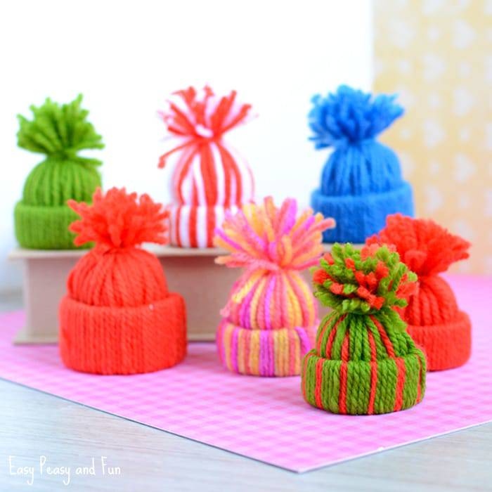 Mini Yarn Hat Ornaments by Easy Peasy and Fun Blog - For the Love of…Christmas at www.elistonbutton.com - Eliston Button - That Crafty Kid – Art, Design, Craft & Adventure.
