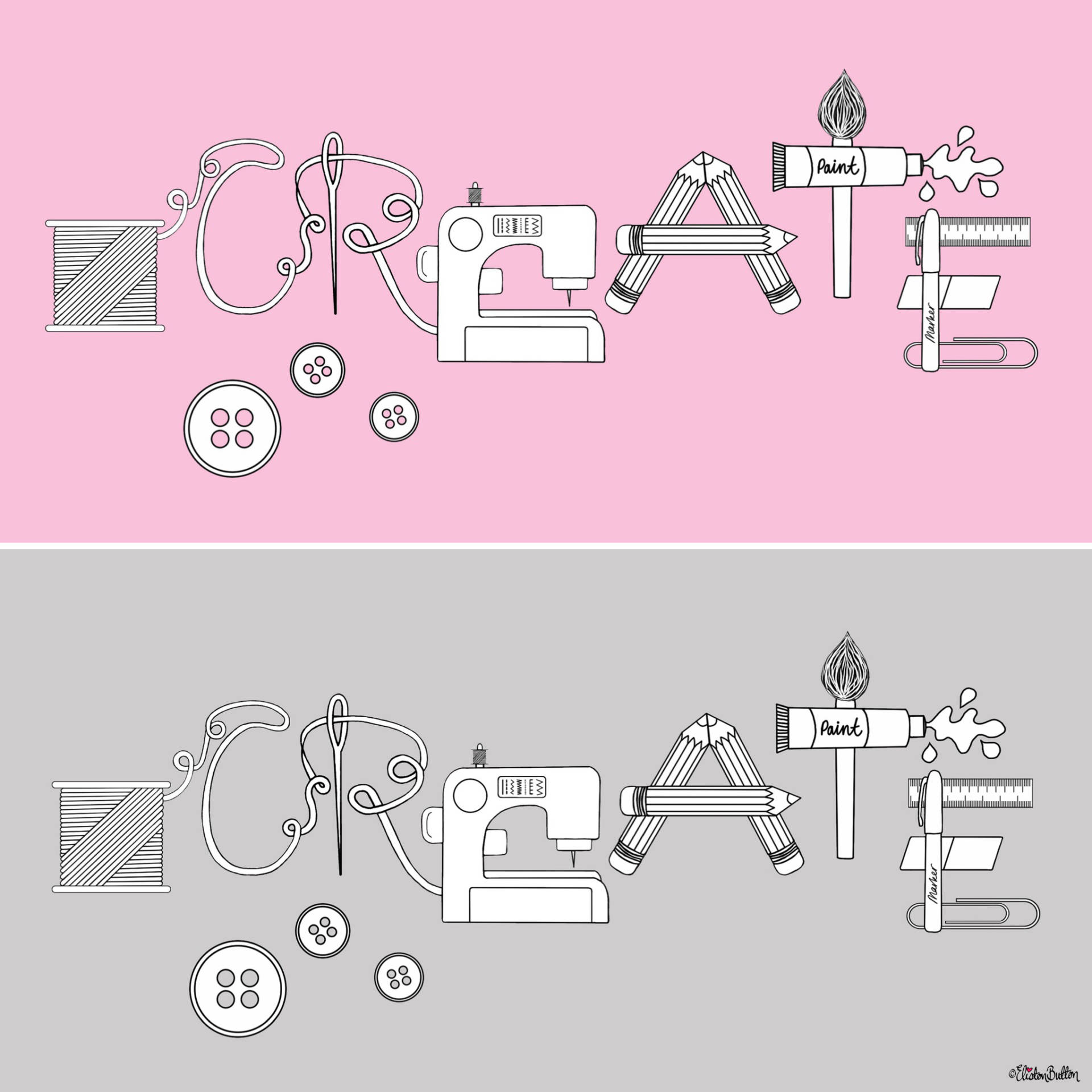 Pink and Grey Versions - Illustrated Create Word Art Illustrated Crafter Print by Eliston Button - Eliston Button is Four! at www.elistonbutton.com - Eliston Button - That Crafty Kid – Art, Design, Craft & Adventure.