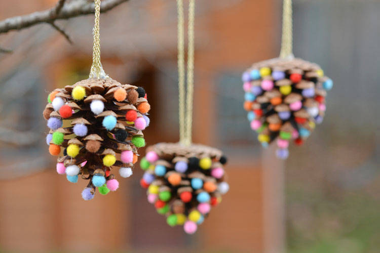 Pom Poms and Pinecones Christmas Ornaments by Debbie Chapman of One Little Project Blog - For the Love of…Christmas at www.elistonbutton.com - Eliston Button - That Crafty Kid – Art, Design, Craft & Adventure.