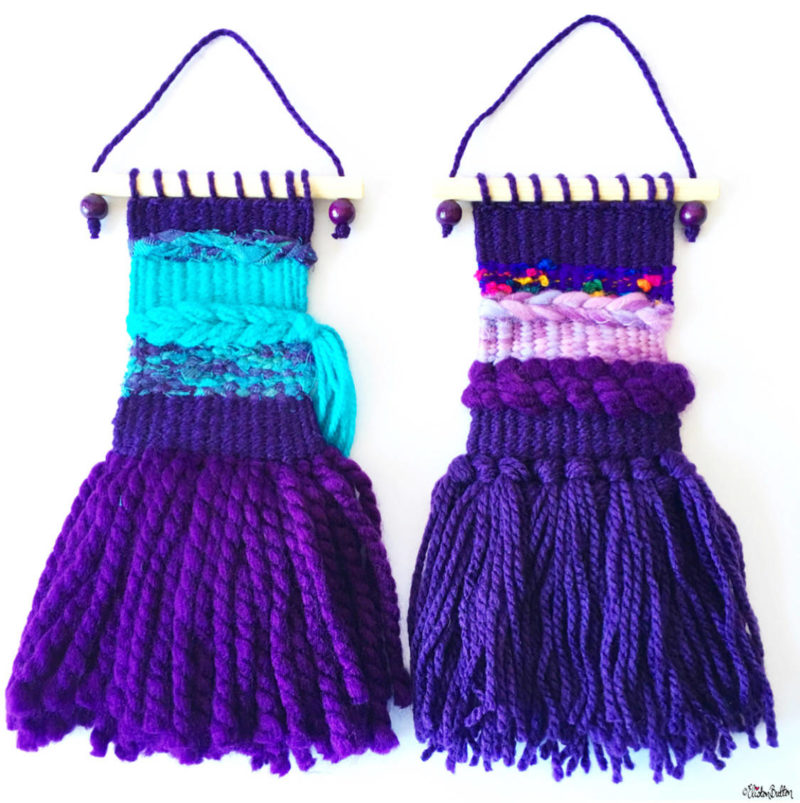 Purple and Purple and Turquoise Mini Woven Wall Hangings by Eliston Button - Meet the Maker Week 2017 at www.elistonbutton.com - Eliston Button - That Crafty Kid – Art, Design, Craft & Adventure.