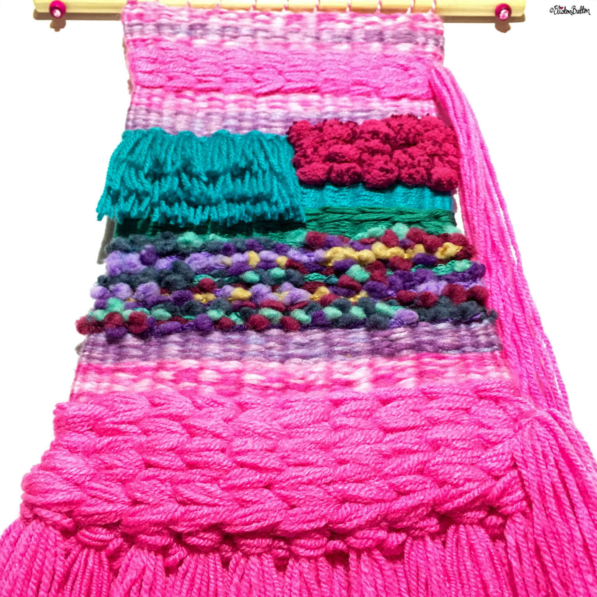 Rainbow, Pink and Turquoise Large Woven Wall Hanging by Eliston Button - Eliston Button is Four! at www.elistonbutton.com - Eliston Button - That Crafty Kid – Art, Design, Craft & Adventure.