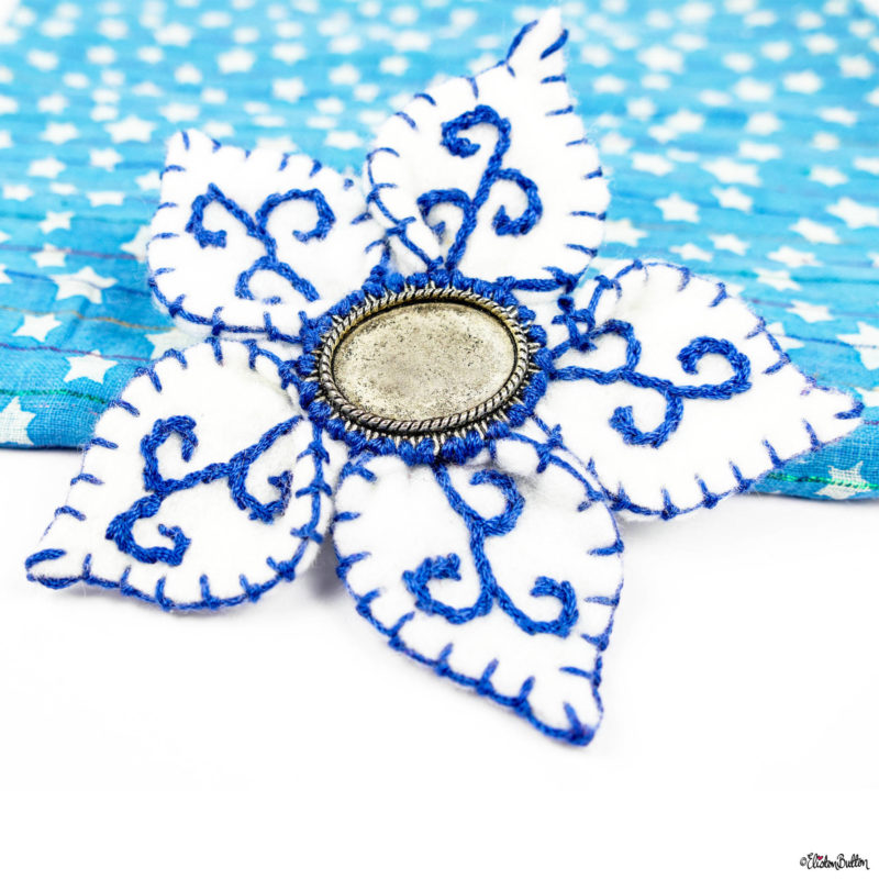 Royal Bue and Crisp White Embroidered Felt Flower Brooch by Eliston Button - Eliston Button is Four! at www.elistonbutton.com - Eliston Button - That Crafty Kid – Art, Design, Craft & Adventure.