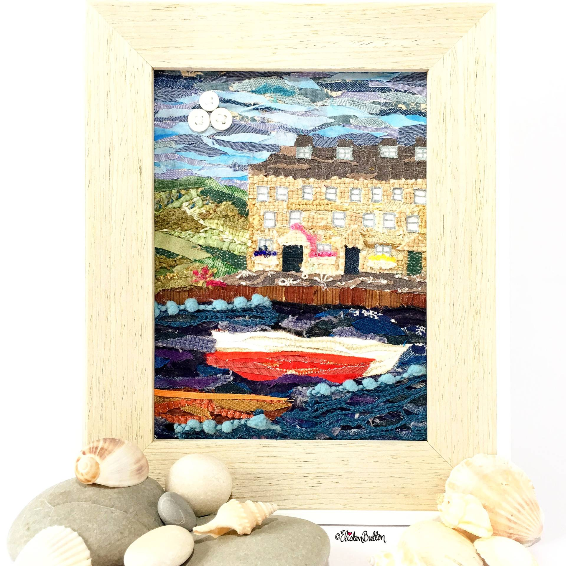 Seaside Harbour Original Fabric Collage by Eliston Button - Eliston Button is Four! at www.elistonbutton.com - Eliston Button - That Crafty Kid – Art, Design, Craft & Adventure.