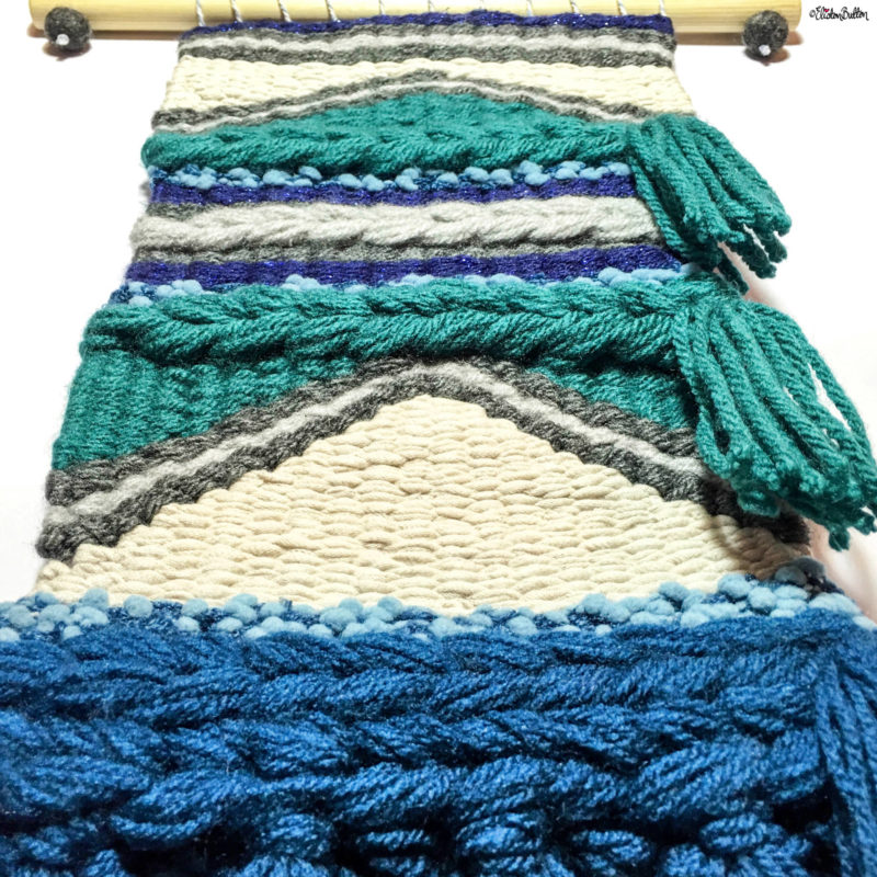 Teal, Navy and Grey Large Woven Wall Hanging by Eliston Button - Eliston Button is Four! at www.elistonbutton.com - Eliston Button - That Crafty Kid – Art, Design, Craft & Adventure.
