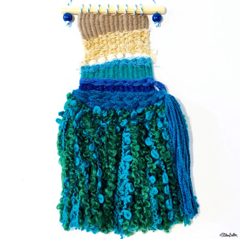 Teal and Green Seaweed Tassel Mini Beach Weaving by Eliston Button - Eliston Button is Four! at www.elistonbutton.com - Eliston Button - That Crafty Kid – Art, Design, Craft & Adventure.