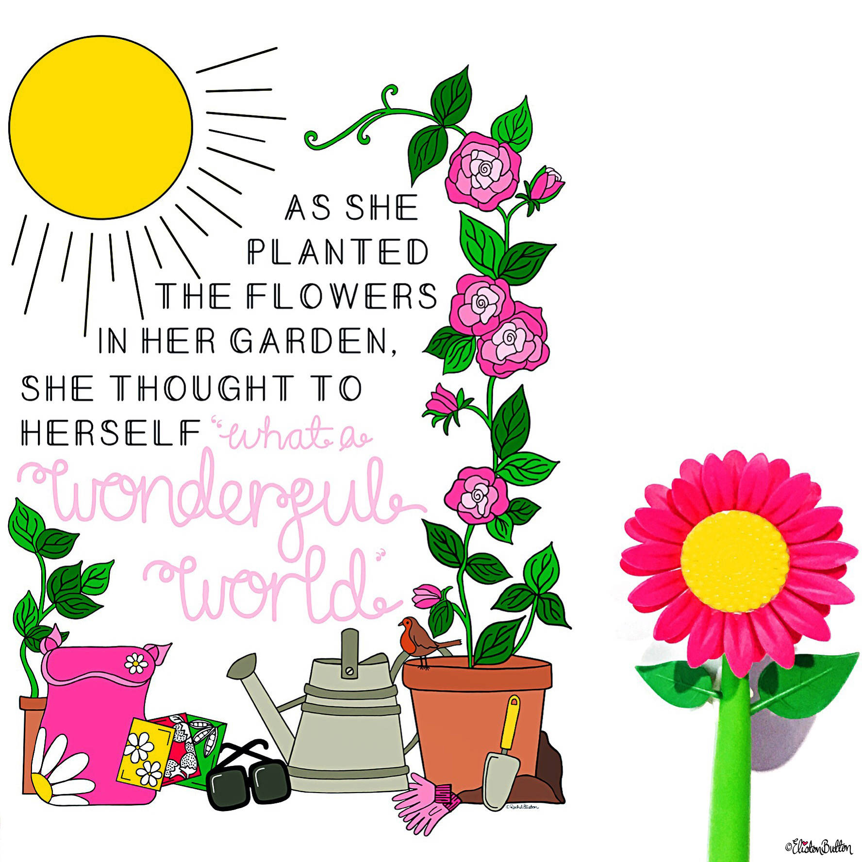 Wonderful World Gardener Garden Quote Print by Eliston Button - Eliston Button is Four! at www.elistonbutton.com - Eliston Button - That Crafty Kid – Art, Design, Craft & Adventure.